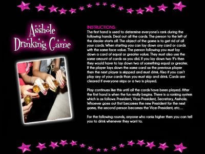 Can how to play asshole drinking game think, that