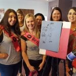 hen party with a picture after doing a draw a nude activity