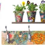 Images of a chair a coat hanger and flower pots Decoupaged by a hen party during a Decoupage workshop as a hen party activity