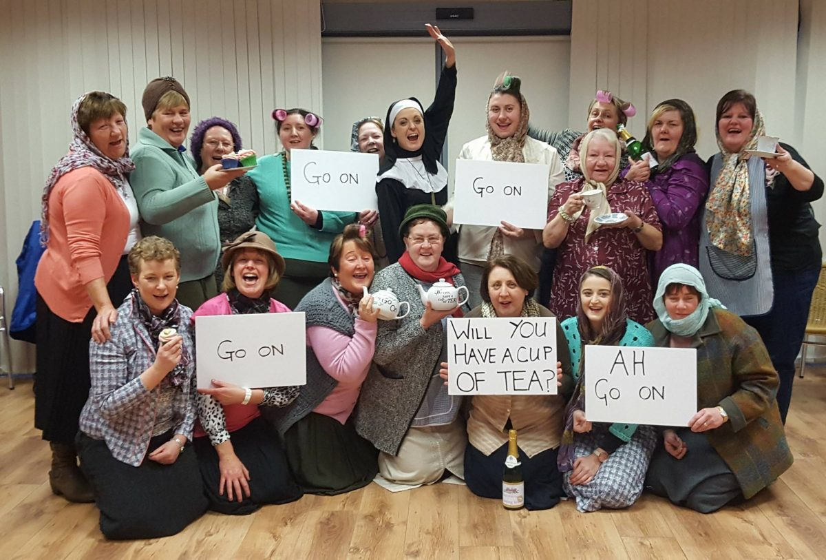a hen party dressed as grannies after doing a Mrs Doyle & Her Grannies activity