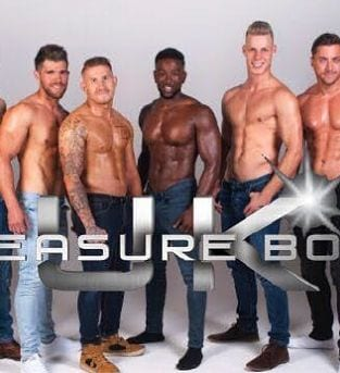 Image of 5 members of the UK Pleasure Boys wearing jeans with no tops on
