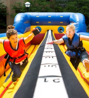 Image of a hen party doing the Bungee run activity