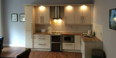 Cream kitchen in one of the self catering apartments in Carrick on Shannon